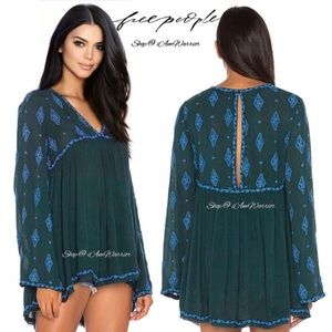 Free People NWT boho bell sleeve embroidered top
